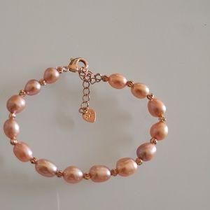 Pink pearl bracelet 17 сm/NEW